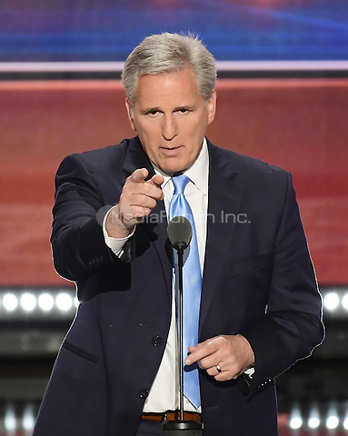 United States House Majority Leader Kevin McCarthy (Republican of California) makes remarks at the 2016 Republican National Convention held at the Quicken Loans Arena in Cleveland, Ohio on Tuesday, July 19, 2016.<br /> Credit: Ron Sachs / CNP/MediaPunch<br /> (RESTRICTION: NO New York or New Jersey Newspapers or newspapers within a 75 mile radius of New York City)