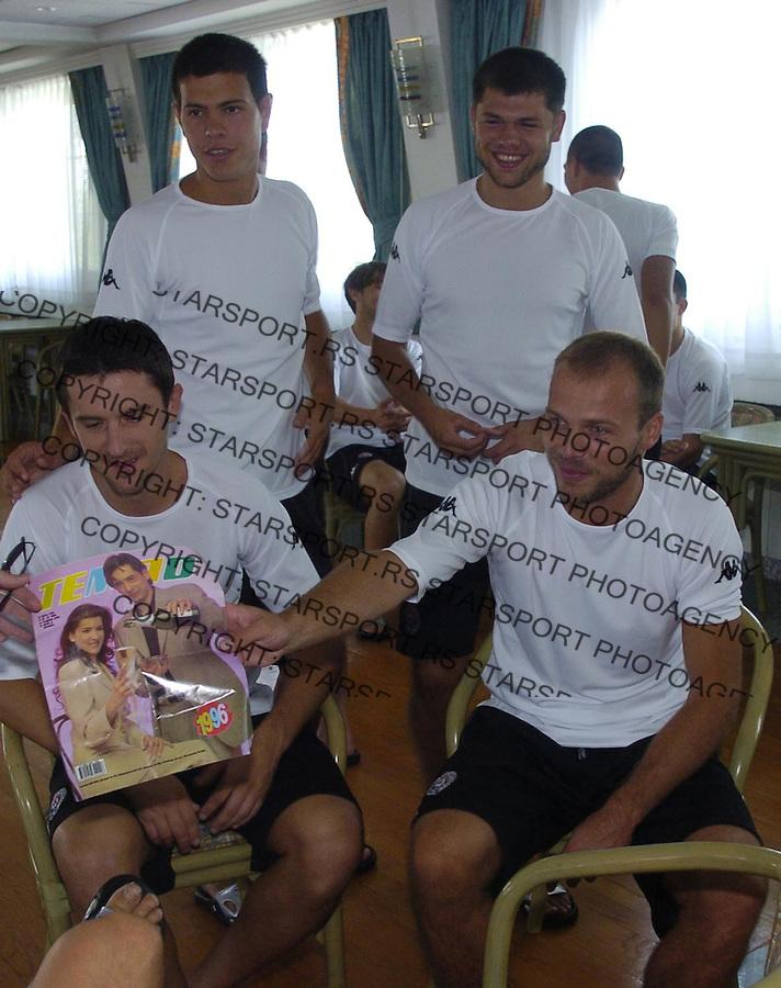 SPORT SOCCER FOOTBALL FUDBAL PARTIZAN TRENING TRAINING Tomic Bajic Smiljanic Rnic 26.6.2006.  foto: Pedja Milosavljevic<br />
