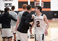 #2 Jacob Adler<br /> The Occidental College men's basketball team plays against Claremont-Mudd-Scripps on February 12, 2020 in Rush Gym. Oxy won 58-49.<br /> (Photo by Marc Campos, Occidental College Photographer)