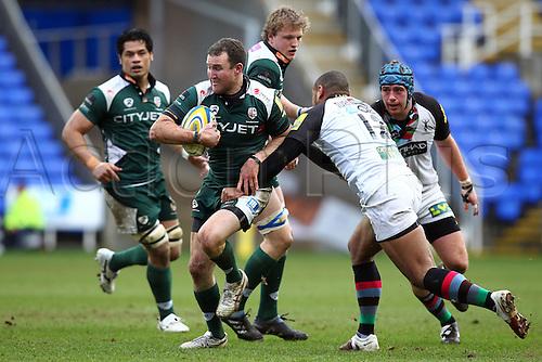 26.02.2011 Fly Half Chris Malone in possession for London Irish Aviva Premiership Rugby from the Madejski Stadium. London Irish v Harlequins.