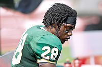 October 2, 2010:    Jacksonville Dolphins running back Rudell Small (28) sits on the bench during Pioneer Football League action between the San Diego Toreros and Jacksonville University Dolphins at D. B. Milne Field in Jacksonville, Florida.  Jacksonville defeated San Diego 35-28.