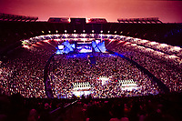 The Grateful Dead Live in Concert at Giants Stadium June 17, 1991. Very Wide Stadium Image Capture. Audience, Set, Lights and Stage. Lights and Set Design by Candace Brightman.
