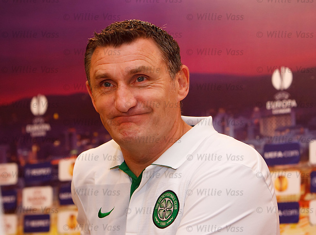 Tony Mowbray arrives for Celtic's Europa League press conference in Tel Aviv