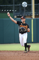Frankie Rios #17 of the Southern California Trojans throws to first base during a game against the Coppin State Eagles at Dedeaux Field on February 18, 2017 in Los Angeles, California. Southern California defeated Coppin State, 22-2. (Larry Goren/Four Seam Images)
