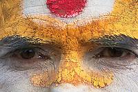 Close up of a Sadhus face at Shambhu Nath Hindu traditional Cremation Area