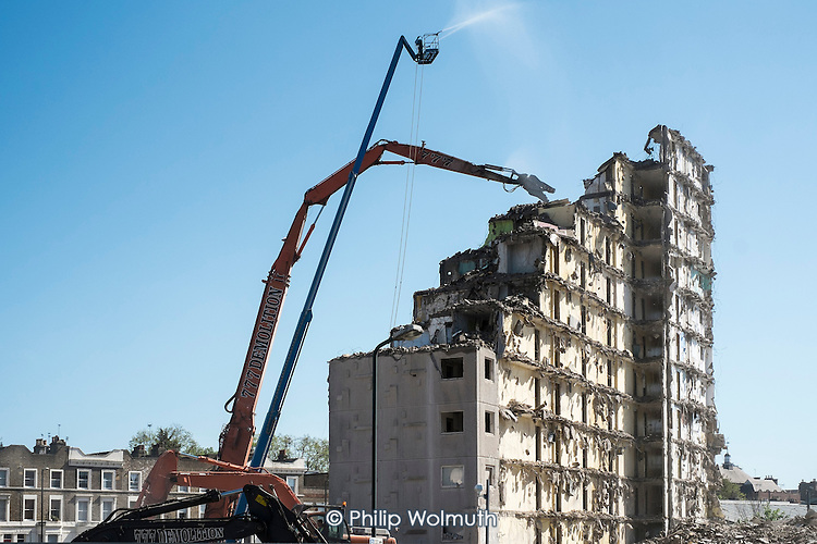 Demolition of Fielding  House, an 18 story block on South Kilburn Estate, Brent, by Network Housing as part of a £600 million regeneration programme on the estate.