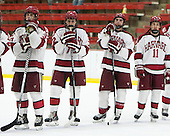 Desmond Bergin (Harvard - 37), Phil Zielonka (Harvard - 72), Alexander Kerfoot (Harvard - 14), Kyle Criscuolo (Harvard - 11) - The Harvard University Crimson honored their seniors following their final home game of the regular season on Saturday, February 22, 2014 at the Bright-Landry Hockey Center in Cambridge, Massachusetts.