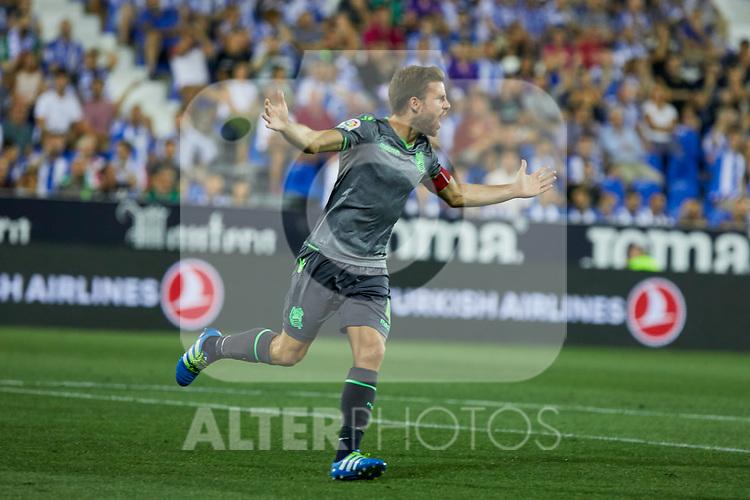 Real Sociedad's Asier Illarramendi celebrate goal during La Liga match. August 24, 2018. (ALTERPHOTOS/A. Perez Meca)