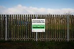 A sign at the Look Now Stadium indicating that  Stocksbridge have benefited from Premier League funding. Stocksbridge Park Steels v Pickering Town, Evo-Stik East Division, 17th November 2018. Stocksbridge Park Steels were born from the works team of the local British Steel plant that dominates the town north of Sheffield.<br />