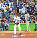 Kenta Maeda (Dodgers), Jason Heyward (Cubs),<br /> OCTOBER 20, 2016 - MLB :<br /> Kenta Maeda of the Los Angeles Dodgers celebrates after the third out of the first inning during the game five of the National League Championship Series against the Chicago Cubs on October 20, 2016, at Dodger Stadium in Los Angeles, CA. (Photo by AFLO)