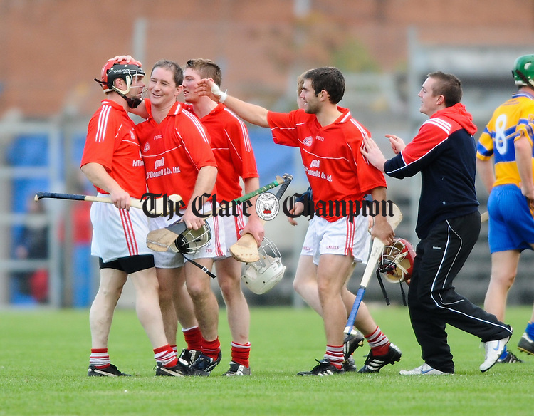 The Crusheen lads celebrate after their Senior hurling semi-final win over Sixmilebridge at Cusack Park. Photograph by John Kelly.