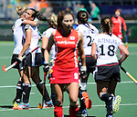 The Hague, Netherlands, June 13: Julia Mueller #28 of Germany is congratulated by teammates during the field hockey placement match (Women - Place 7th/8th) between Korea and Germany on June 13, 2014 during the World Cup 2014 at Kyocera Stadium in The Hague, Netherlands. Final score 4-2 (2-0)  (Photo by Dirk Markgraf / www.265-images.com) *** Local caption ***