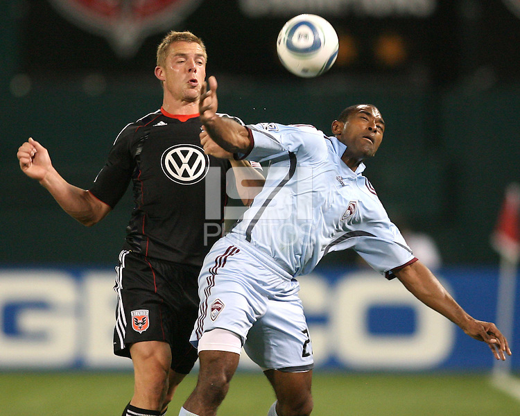 Danny Allsopp #9 of D.C. United goes for the ball with Marvell Wynne #22 of the Colorado Rapids during an MLS match on May 15 2010, at RFK Stadium in Washington D.C. Colorado won 1-0.