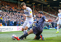 Leeds United's Mateusz Klich is tackled by Sheffield Wednesday's Morgan Fox<br /> <br /> Photographer Alex Dodd/CameraSport<br /> <br /> The EFL Sky Bet Championship - Leeds United v Sheffield Wednesday - Saturday 13th April 2019 - Elland Road - Leeds<br /> <br /> World Copyright © 2019 CameraSport. All rights reserved. 43 Linden Ave. Countesthorpe. Leicester. England. LE8 5PG - Tel: +44 (0) 116 277 4147 - admin@camerasport.com - www.camerasport.com