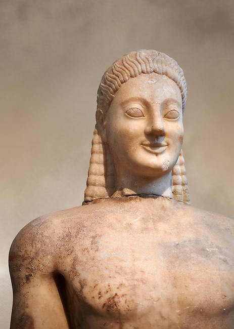 Parian marble Ancient Greek Archaic statue of a kouros, found in Volomandra, Attica. Circa 560-550 BC, Athens National Archaeological Museum. Cat no 1906.<br /> <br /> Probably from the grave of an athenian aristocrat