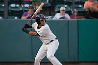 Visalia Rawhide left fielder Ramon Hernandez (16) at bat during a California League game against the Stockton Ports at Visalia Recreation Ballpark on May 8, 2018 in Visalia, California. Stockton defeated Visalia 6-2. (Zachary Lucy/Four Seam Images)