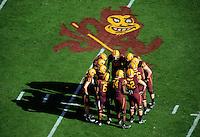 Nov. 28, 2009; Tempe, AZ, USA; Arizona State Sun Devils players in the huddle against the Arizona Wildcats at Sun Devil Stadium. Arizona defeated Arizona State 20-17. Mandatory Credit: Mark J. Rebilas-