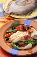 """Europe/France/Languedoc-Roussillon/66/Pyrénées-Orientales/Port-Vendres: Saint Pierre au jambon Serrano, recette du restaurant """"La Cote Vermeille"""""""