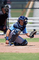 Tampa Bay Rays catcher Dawson Dimon (63) during a Minor League Extended Spring Training game against the Atlanta Braves on April 15, 2019 at CoolToday Park Training Complex in North Port, Florida.  (Mike Janes/Four Seam Images)