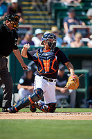 Detroit Tigers catcher John Hicks (55) during a Grapefruit League Spring Training game against the Atlanta Braves on March 2, 2019 at Publix Field at Joker Marchant Stadium in Lakeland, Florida.  Tigers defeated the Braves 7-4.  (Mike Janes/Four Seam Images)