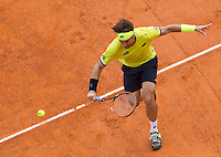 Lo spagnolo David Ferrer in azione contro il serbo Novak Djokovic durante gli Internazionali d'Italia di tennis a Roma, 16 maggio 2015. <br /> Spain's David Ferrer in action against Serbia's Novak Djokovic during the Italian Open tennis tournament in Rome, 15 May 2015.<br /> UPDATE IMAGES PRESS/Riccardo De Luca