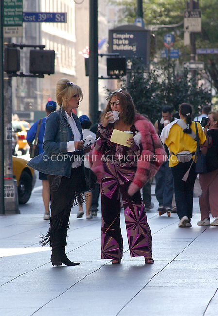 "Stars of British comedy show ""Absolutely Fabulous"" (AbFAB), Jennifer Saunders and Joanna Lumley filming scenes for their show on Fifth Avenue in New York during New York Fashion Week. September 22, 2002. Please byline: Alecsey Boldeskul/NY Photo Press.   ..*PAY-PER-USE*      ....NY Photo Press:  ..phone (646) 267-6913;   ..e-mail: info@nyphotopress.com"
