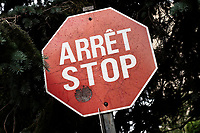 """One of the last French-English bilingual """"stop"""" sign is seen on Rue de Berniere street in Quebec city July 7, 2009. Provincial government changed (almost) all the stop sign to only read """"arret"""" many years ago.<br /> <br /> PHOTO :  Francis Vachon - Agence Quebec Presse"""