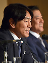 "December 17, 2014, Tokyo, Japan - Ex-Yankee Hideki Matsui speaks during a news conference at Tokyo's Foreign Correspondents' Club of Japan on Wednesday, December 17, 2014. Matsui along with his former teammate Derek Jeter will co-host a charity baseball event, ""Support Our Kids,"" at Tokyo Dome in March for junior high school students from the northeastern disaster-hit region as well as American students living in Japan.  (Photo by Natsuki Sakai/AFLO)"
