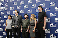From left, producer Rosa Tran, directors Duke Johnson, Charlie Kaufman, actors Jennifer Jason Leigh and Tom Noonan attend a photocall for the movie 'Anomalisa' during the 72nd Venice Film Festival at the Palazzo Del Cinema in Venice, Italy, September 8, 2015 in Venice, Italy. <br /> UPDATE IMAGES PRESS/Stephen Richie