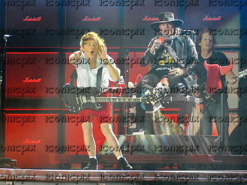 AC/DC - Angus Young &amp; Axl Rose &amp; Stevie Young - performing live at the Passeio Martimo De Alge in Lisbon Portugal - <br /> 07 May 2016.  Photo credit:  Thomas Zeidler/Dalle/IconicPix