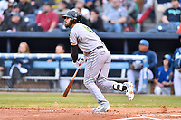 Augusta GreenJackets first baseman Francisco Tostado (8) swings at a pitch during a game against the Asheville Tourists at McCormick Field on April 4, 2019 in Asheville, North Carolina. The GreenJackets defeated the Tourists 9-5. (Tony Farlow/Four Seam Images)