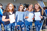 Kate Waldron from the Spa received 9 A's and 1B in her results of the Junior Cert in Gaelcholaiste Chiarrai with Siobhan Griffin, Isabelle Bentley Curran and Erica Jones on Wednesday morning.
