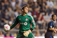 Toronto FC goalkeeper Joe Bendik (12). The Philadelphia Union defeated Toronto FC 1-0 during a Major League Soccer (MLS) match at PPL Park in Chester, PA, on October 5, 2013.
