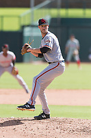 Scottsdale Scorpions relief pitcher Chase Johnson (31), of the San Francisco Giants organization, delivers a pitch during an Arizona Fall League game against the Glendale Desert Dogs at Camelback Ranch on October 16, 2018 in Glendale, Arizona. Scottsdale defeated Glendale 6-1. (Zachary Lucy/Four Seam Images)