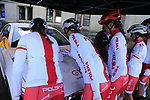 Team Poland at sign on for the start of the Women Elite Road Race of the UCI World Championships 2019 running 149.4km from Bradford to Harrogate, England. 28th September 2019.<br /> Picture: Eoin Clarke | Cyclefile<br /> <br /> All photos usage must carry mandatory copyright credit (© Cyclefile | Eoin Clarke)