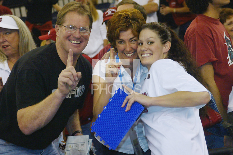 18 December 2004: Stanford Cardinal Jennifer Hucke and her parents during Stanford's  30-23, 30-27, 30-21 victory over Minnesota in the 2004 NCAA Women's Volleyball National Championships in Long Beach, CA. Stanford won their sixth women's volleyball title in school history.<br />
