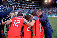 Portland, OR - Saturday May 06, 2017: Portland Thorns FC huddle prior to a regular season National Women's Soccer League (NWSL) match between the Portland Thorns FC and the Chicago Red Stars at Providence Park.
