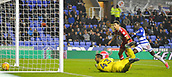 31st October 2017, Madejski Stadium, Reading, England; EFL Championship football, Reading versus Nottingham Forest;Sone Aluko of Reading scores their third goal