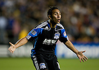 Arturo Alvarez of Earthquakes reacts to referee's bad call during the game against Real Salt Lake at Buck Shaw Stadium in Santa Clara, California on March 27th, 2010.   Real Salt Lake defeated San Jose Earthquakes, 3-0.