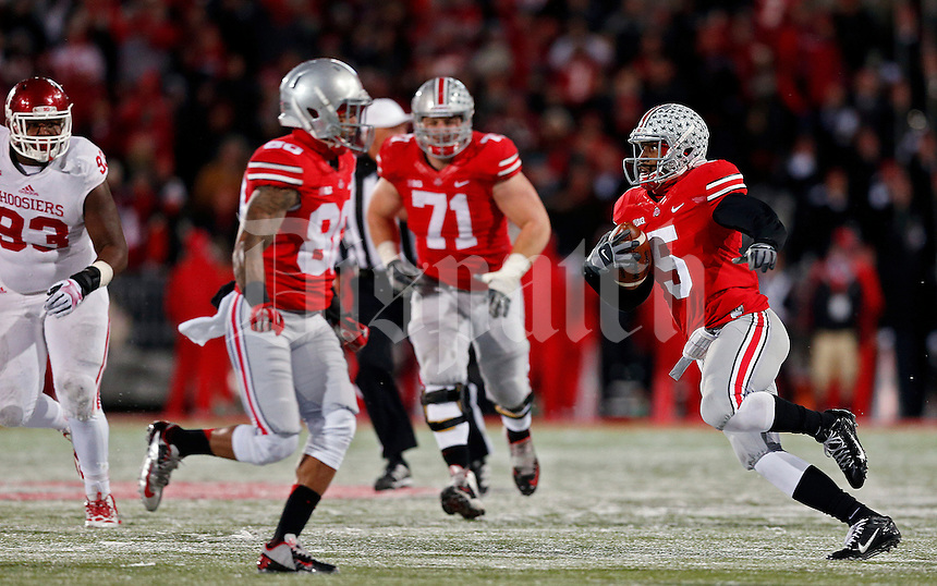 Ohio State Buckeyes quarterback Braxton Miller (5) breaks lose on a run against Indiana Hoosiers during the third quarter of their college football game at Ohio Stadium in Columbus, Ohio on November 23, 2013.  (Dispatch photo by Kyle Robertson)