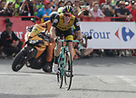 Steven Kruijswijk (NED) Team LottoNL-Jumbo approaches the finish line on the final climb of Stage 19 of the La Vuelta 2018, running 154.4km from Lleida to Andorra, Naturlandia, Andorra. 14th September 2018.                   <br /> Picture: Colin Flockton | Cyclefile<br /> <br /> <br /> All photos usage must carry mandatory copyright credit (© Cyclefile | Colin Flockton)