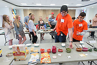 Alumni participate in the Build Your Own Spitz-Wrap Competition. hosted by Young Alumni Seal Award winners Rob Wicklund '05 and Bryce Rademan '05, on Saturday, June 13, 2015 in Lower Herrick. The event was co-hosted by Oxypreneurship and was part of Occidental College's annual Alumni Reunion.<br /> (Photo by Marc Campos, Occidental College Photographer)