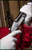 """BNPS.co.uk (01202 558833)<br /> Pic: BlenheimPalace/BNPS<br /> <br /> Both barrels - Winston Churchill's personal shotguns' go on display at Blenheim Palace for the first time.<br /> <br /> The bespoke guns are part of an exhibition of the 'Greatest Briton' at Blenheim Palace.<br /> <br /> The beautifully made firearms have been loaned by the statesman's great grandson Randolph Churchill.<br /> <br /> The pair of Woodward guns were a gift to the future Prime Minister, who was born at Blenheim Palace, from his grandfather the 10th Duke of Marlborough.<br /> <br /> They were delivered to the newly-elected MP for Oldham care of the Houses of Parliament in 1902 within an ornate oak and leather case.<br /> <br /> """"In the world of gun making, James Woodward & Sons are often referred to as 'the gunmaker's gunmaker',"""" said Christopher Beaumont of Holts Auctioneers, Europe's leading auction house for fine modern and antique firearms.<br /> <br /> """"Being made for one of the most iconic figures in modern history adds a virtually unquantifiable value to them – and were they ever to appear at auction it would not surprise me to see that value double, triple or even quadruple on the day"""" he added.<br /> <br /> Woodward & Sons was purchased by James Purdey & Sons in the 1940s who still hold a large number of the original record and order books; including Churchill's."""