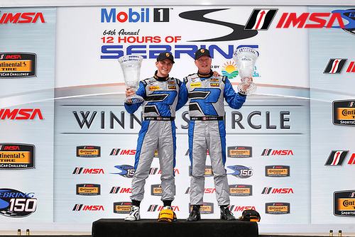 15-18 March, 2016, Sebring, Florida, USA<br /> Winners 12, Porsche, Cayman GT4, GS, Trent Hindman, Cameron Cassels<br /> &copy;2016, Michael L. Levitt<br /> LAT Photo USA