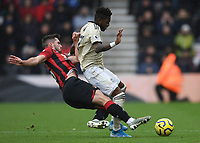 2nd November 2019; Vitality Stadium, Bournemouth, Dorset, England; English Premier League Football, Bournemouth Athletic versus Manchester United; Lewis Cook of Bournemouth tackles Fred of Manchester United - Strictly Editorial Use Only. No use with unauthorized audio, video, data, fixture lists, club/league logos or 'live' services. Online in-match use limited to 120 images, no video emulation. No use in betting, games or single club/league/player publications