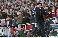 Arsenal manager Unai Emery celebrates after his side's first goal <br /> <br /> Photographer David Shipman/CameraSport<br /> <br /> The Premier League - Arsenal v Burnley - Saturday 22nd December 2018 - The Emirates - London<br /> <br /> World Copyright © 2018 CameraSport. All rights reserved. 43 Linden Ave. Countesthorpe. Leicester. England. LE8 5PG - Tel: +44 (0) 116 277 4147 - admin@camerasport.com - www.camerasport.com