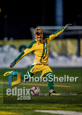 13 November 2019: University of Vermont Catamount Defender Garrett Lillie, a Sophomore from York, Maine, in action against the University of Hartford Hawks at Virtue Field in Burlington, Vermont. The Catamounts fell to the visiting Hawks 3-2 in sudden death overtime of the Division 1 Men's Soccer America East matchup. Mandatory Credit: Ed Wolfstein Photo *** RAW (NEF) Image File Available ***