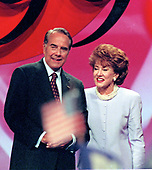 Former United States Senator Bob Dole (Republican of Kansas) and former Secretary of Labor Elizabeth Hanniford Dole on the poduim after he delivered his speech accepting the nomination of the Republican Party to be its candidate for President of the United States at the San Diego Convention Center in San Diego, California on Thursday, August 15, 1996.<br /> Credit: Ron Sachs / CNP