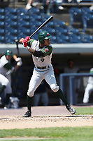 Fort Wayne TinCaps outfielder Buddy Reed (9) at bat against the West Michigan Michigan Whitecaps during the Midwest League baseball game on April 26, 2017 at Fifth Third Ballpark in Comstock Park, Michigan. West Michigan defeated Fort Wayne 8-2. (Andrew Woolley/Four Seam Images)