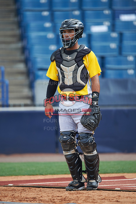 Bradenton Marauders catcher Tomas Morales (27) during practice before a game against the Tampa Yankees on April 11, 2016 at George M. Steinbrenner Field in Tampa, Florida.  Tampa defeated Bradenton 5-2.  (Mike Janes/Four Seam Images)